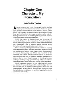 Character... My Foundation Lesson Plan