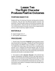 The Right Character Produces Positive Outcomes Lesson Plan