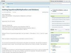 Solving Equations (Multiplication and Division) Lesson Plan