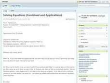 Solving Equations (Combined and Applications) Lesson Plan