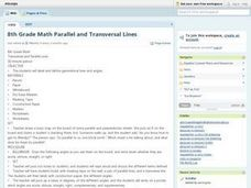 8th Grade Math Parallel and Transversal Lines Lesson Plan