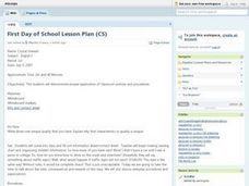 First Day Of School Lesson Plan Lesson Plan