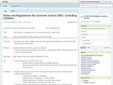 Summer School Rules and Procedures Lesson Plan