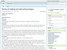 Review of Adding and Subtracting Integers Lesson Plan