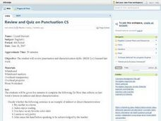 Review and Quiz on Punctuation CS Lesson Plan