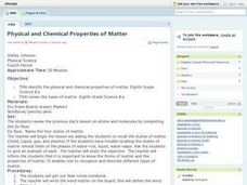 Physical and Chemical Properties of Matter Lesson Plan