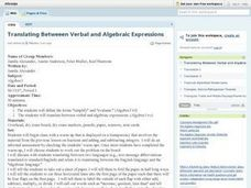 Translating Between Verbal and Algebraic Expressions Lesson Plan
