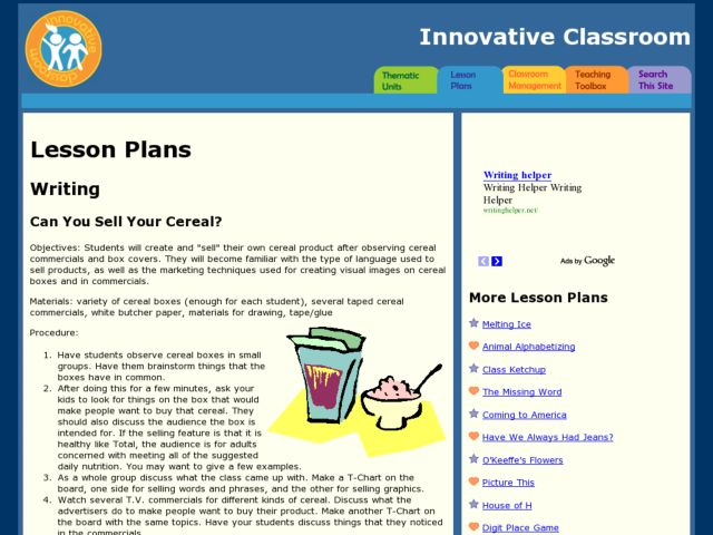 Can You Sell Your Cereal? Lesson Plan