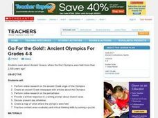 Go For the Gold!: Ancient Olympics For Grades 4-8 Lesson Plan