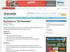 "Nonfiction is ""No Nonsense"" Lesson Plan"
