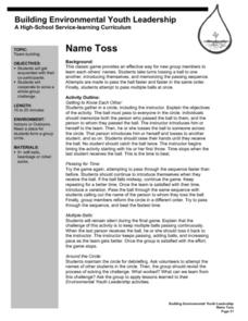 Name Toss Lesson Plan