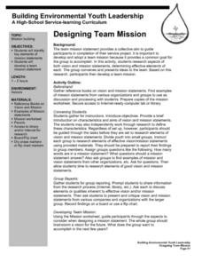 Designing Team Mission Lesson Plan