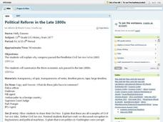 Political Reform in the Late 1800s Lesson Plan