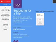 Budgeting for a Trip Lesson Plan