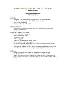 Guideline for Book Reports -- Slave Narratives Lesson Plan