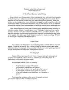 Celebrity Letter Writing Assignment Lesson Plan