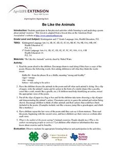 Be Like The Animals Lesson Plan