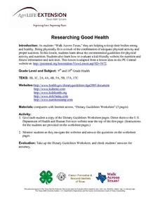 Researching Good Health Lesson Plan