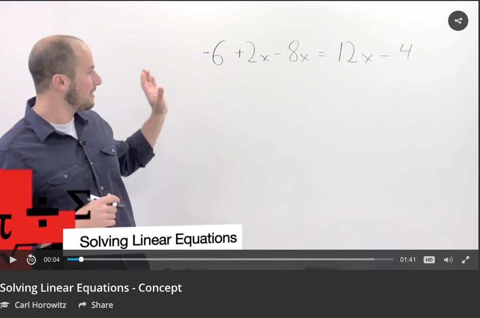 Solving Linear Equations Video