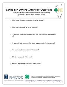 Caring for Others - Interview Questions Lesson Plan
