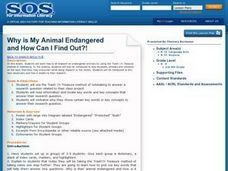 Why is My Animal Endangered and How Can I Find Out?! Lesson Plan