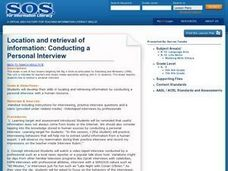 Location and Retrieval of Information: Conducting A Personal Interview Lesson Plan