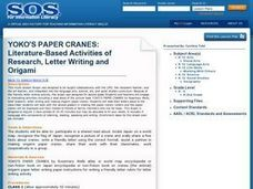 YOKO'S PAPER CRANES: Literature-Based Activities of Research, Letter Writing and OrigamiBACK TO SEARCH RESULTS Lesson Plan