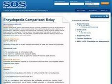 Encyclopedia Comparison/ Relay Lesson Plan