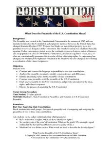 What Does The Preamble of the U.S. Constitution Mean? Lesson Plan