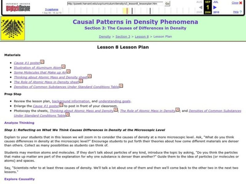 Causal Patterns in Density Phenomena Lesson Plan
