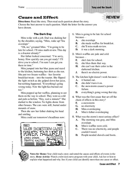 Cause And Effect Worksheet For 3rd 4th Grade Lesson Planet