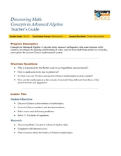 Discovering Math-Concepts in Advanced Algebra Lesson Plan