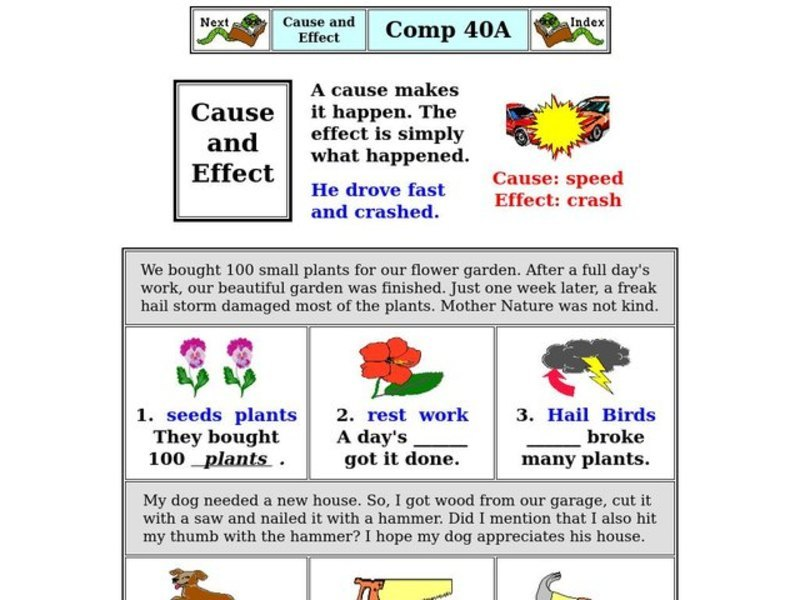 Cause And Effect Worksheet For 2nd 3rd Grade Lesson Planet