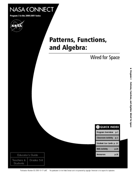 patterns functions and algebra wired for space lesson plan for 5th 8th grade lesson planet. Black Bedroom Furniture Sets. Home Design Ideas