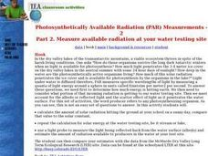 Photosynthetically Available Radiation (PAR) Measurements Lesson Plan