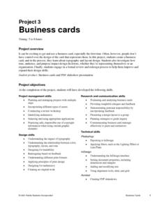 Business:  Designing Business Cards Lesson Plan