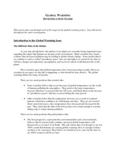 Global Warming Investigation Guide Lesson Plan