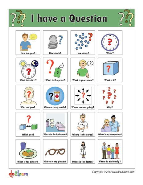 graphic about Printable Communication Board for Adults called I Include a Wonder\