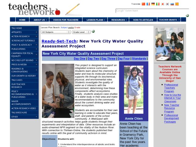 New York City Water Quality Assessment Project Lesson Plan