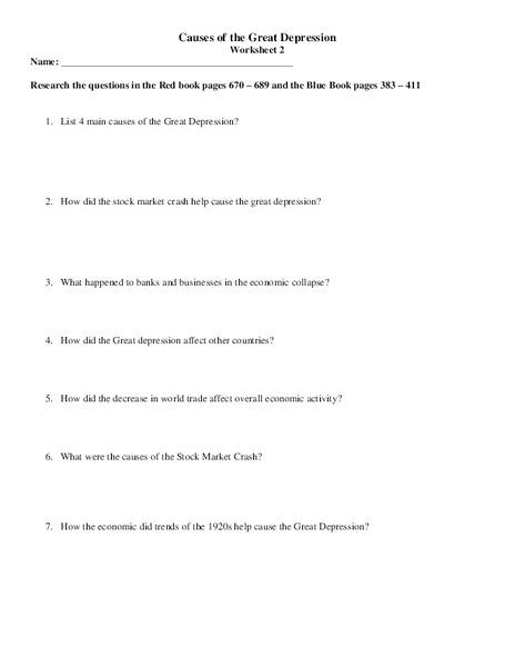 All Worksheets » Great Depression Worksheets - Printable ...