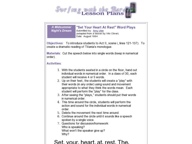 Set Your Heart At Rest Word Plays Students Read Shakespeares A Midsummer Nights Dream