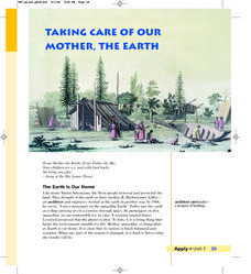 Taking Care of Our Mother, The Earth Lesson Plan