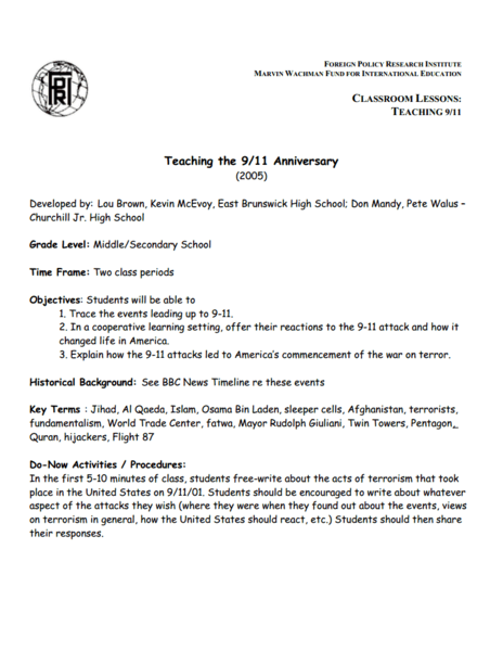 Teaching the 9/11 Anniversary Lesson Plan