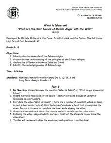 What is Islam and What are the Root Causes of Muslim Anger with the West? Lesson Plan
