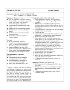 General Music Star Spangled Banner Lesson Plan For 2nd