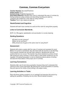 Commas, Commas Everywhere Lesson Plan