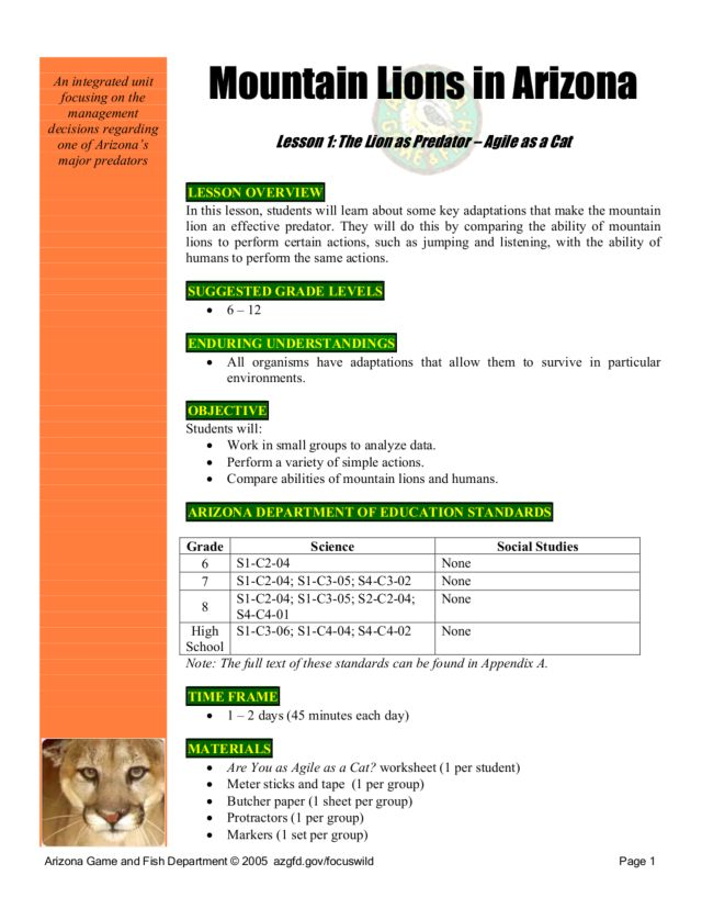 Mountain Lion Lesson Plans & Worksheets Reviewed by Teachers