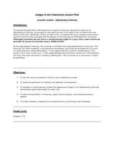 Juvenile Justice-Adjudicatory Hearing Lesson Plan