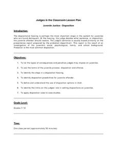 Juvenile Justice-Disposition Lesson Plan