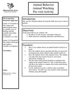 Animal Behavior Animal Watching Pre-visit Activity Lesson Plan